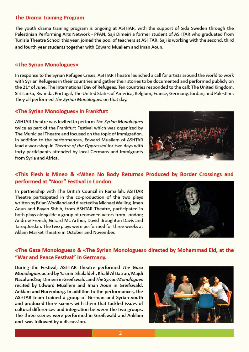 ASHTAR Theatre Newsletter page 2