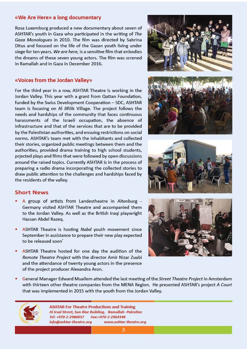 ASHTAR Theatre Newsletter page 3